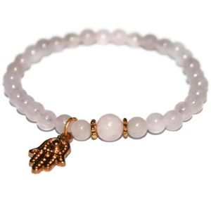 💖💕Rose Quartz Hamsa Hand Bracelet 🌸😊